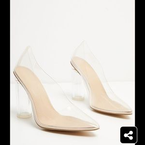 Prettylittlething Block clear heels